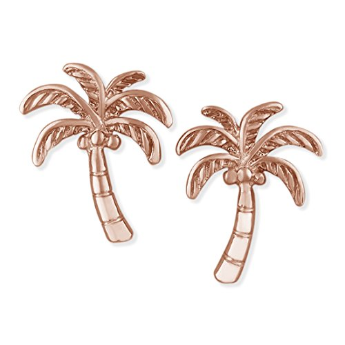 (14kt Rose Gold Plated Sterling Silver Coconut Palm Tree Stud Earrings)