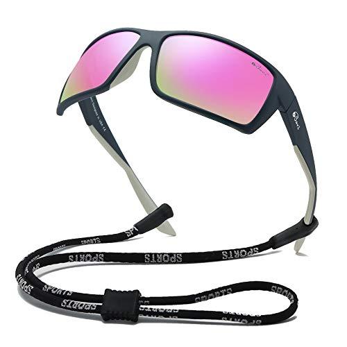 Bevi Sports Sunglasses Polarized Lens/TR 90 Frame with Spring Hinges Glasses For Men Women Cycling Running Baseball ()