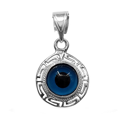 Sterling Silver Greek Key Double Sided Evil Eye Pendant (Sterling Silver Greek Key Pendant)