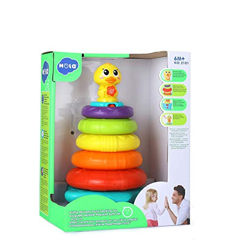 LUCK-IN 2101 Kids Rainbow Stacking Duck Baby Toy with Colorful Rings Stackers with Music Sounds Lights Toys for Children