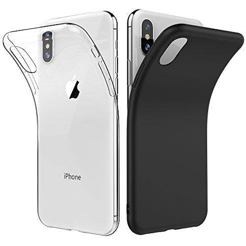 [2 Pack] Simpeak Compatible for iPhone X Case, iPhone Xs Case, Clear/Black, Rugged Protector Case and Clear Slim TPU Case for iPhone X/XS 5.8 [Drop Protection] [Anti Slip] [Scratch Resistant]