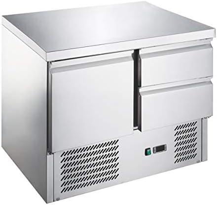 Saladette/Kühltisch PREMIUM - 0,9 x 0,7 m - mit 1 Tür & 2 Schubladen