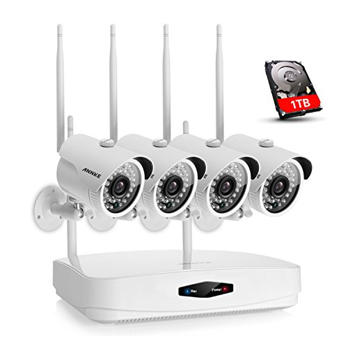 SANNCE 4-Channel Wireless Security System 1080P Video Wifi NVR with 1TB Surveillance Hard Disk and (4) 1.0MP Network Weatherproof Cameras with IR-cut Night Vision,Motion Detection and Email Alert by SANNCE