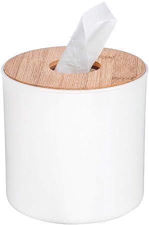 Ldawy Caja de pañuelos, soporte de pañuelos, caja de pañuelos redonda blanca con cubierta de madera para el hogar, la oficina, la decoración automotriz del automóvil: Amazon.es: Bricolaje y herramientas