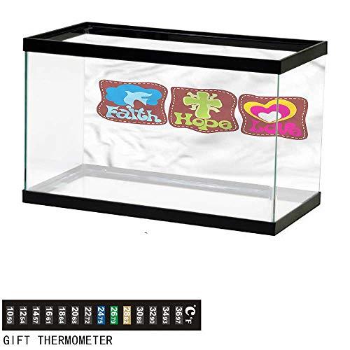 homecoco Fish Tank Backdrop Hope,Retro Hearts and Doves,Aquarium Background,24