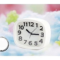 Digital Analog Alarm Clock Bedside Snooze Desk Quartz Clock Home Bedroom Office (White)