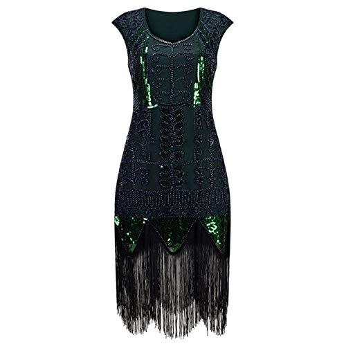 High end Women 1920s Flapper Dress Art Deco Great Gatsby Vestidos V-Neck Sleeveless Flower Embroidered Tiered Fringe Se Green]()