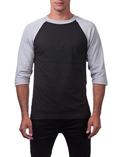 (Pro Club Men's 3/4 Sleeve Baseball Shirt - 5X-Large - Blk/Gry )