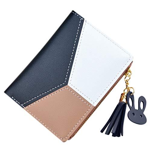 Women Tassel Wallets Patchwork Zipper Purse Short Panelled Coin Purse Card Holder Bag
