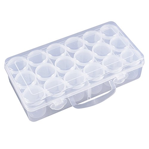 Plastic Glitter Container - 18-Piece Clear Bead Storage Containers with Storage Box and Adjustable Dividers, Plastic Pot Jars for Rhinestones, Nail Art Supplies, Craft Supplies, 10 x 5.1 x 2.5 inches