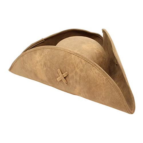 - Nautical Cove Pirate Tricorn Hat Deluxe Costume for Men and Women Brown