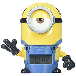BulbBotz Despicable Me 3 Mel Minions Kids Night Light Alarm Clock with Characterized Sound | yellow/blue | plastic | 5.5 inches tall | LCD display | boy girl | official