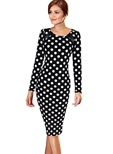 VfEmage Women's Printed Patterned Casual Slimming Fitted Stretch Bodycon Dress 8652 Blk - Styles Different List Clothing