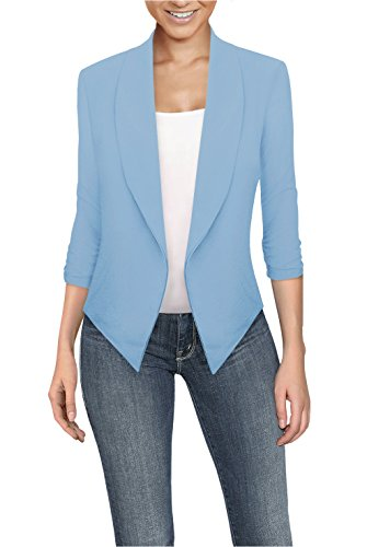 Womens Casual Work Office Open Front Blazer JK1133X Blue - Crinkle Blazer