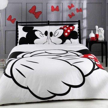 cityof20Disney Minnie Loves Kisses Mickey Mouse AdoreJuego de funda nórdica ropa de cama, tamaño Queen