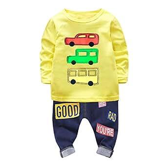 ❤️ Amlaiworld Camiseta Estampada Carros con Mangas largas para niño Bebé Tops Sudadera Pullover + Pantalones Conjunto de Ropa de niños