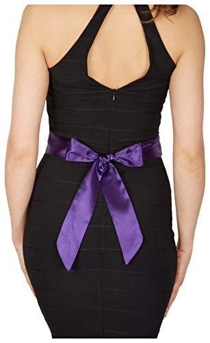 BlackButterfly Bridal Wedding Bridesmaid Satin Sash Belt (Cadbury Purple, 5 CM X 250 CM)