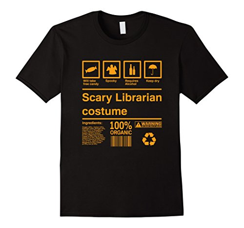 Mens Scary Librarian Costume T-Shirt | Librarian Halloween Shirt 3XL Black