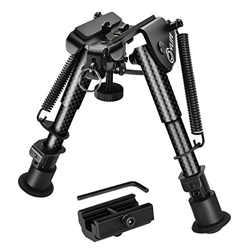 CVLIFE 6-9 Inches Carbon Fiber Rifle Bipod with 20mm Adapter for Hunting and Shooting