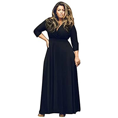 iYYVV Plus Size New Women Long V Neck Maxi Evening Party Ball Prom Gown Cocktail Dress