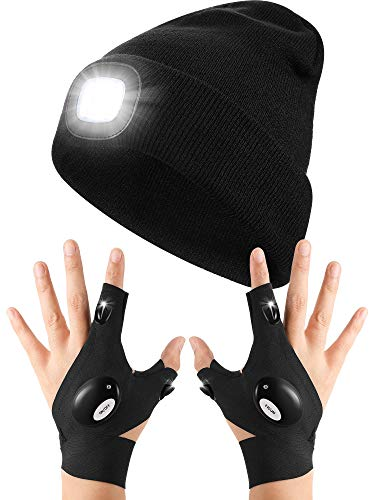 LED Knitted Flashlight Beanie Hat with LED Flashlight Gloves Outdoor Fishing Gloves for Repairing and Working in Darkness Places, Outdoor Sports, Fishing, Camping, Hiking, Running Black
