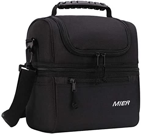 MIER 2 Compartment Lunch Bag for Men Women, Leakproof Insulated Cooler Bag for Work, School, Black