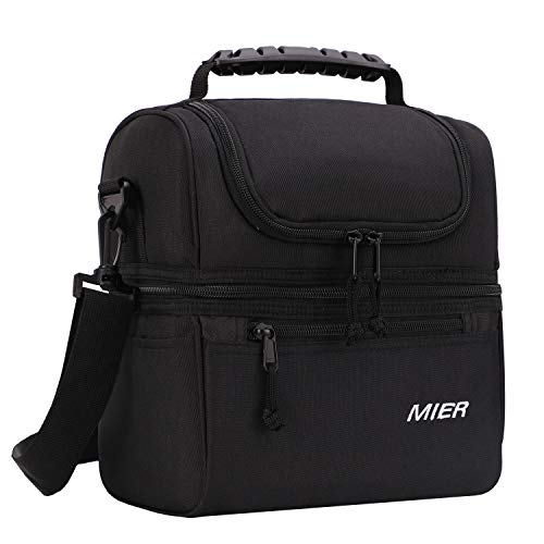 MIER 2 Compartment Lunch Bag for Men Women Kids, Leakproof Insulated Cooler Bag for Work, School, Black