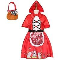 Sincere Party - Disfraz de Caperucita Roja con Vestido con Capa y Cesta para niñas pequeñas 3-4 años