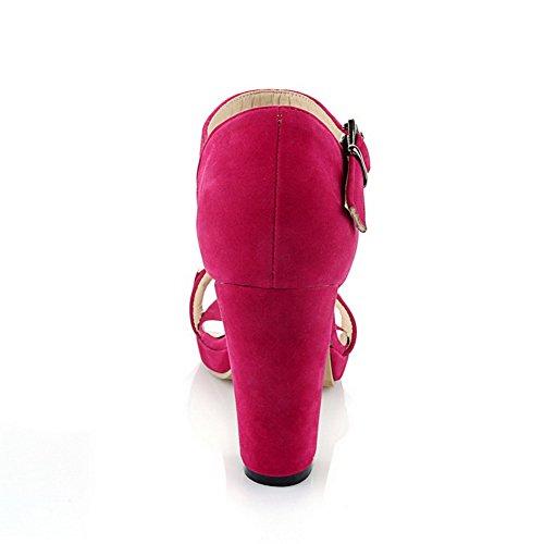 AgooLar Women's Buckle Kitten Heels Imitated Suede Solid Open Toe Sandals RoseRed jbG1oG