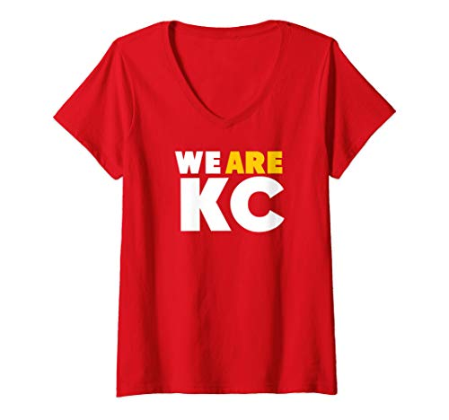 Womens KC Chief Red Football We Are Kansas City Pro Tailgate Wear V-Neck T-Shirt ()