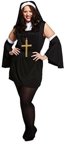 Naughty Nun Costume Ladies Religious Vicars And Tarts Black Fancy Dress Outfit