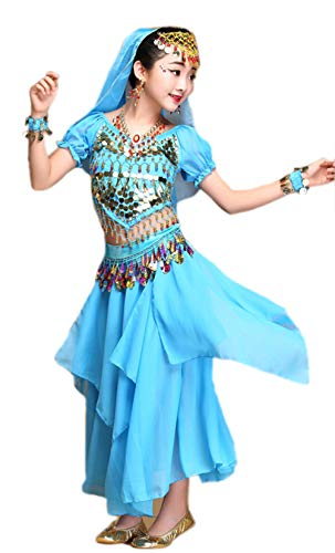 (Girls Halloween Costume Set - Kids Belly Dance Halter Top Pants with Jewelry Accessory for Dress Up Party (Blue(Skirt Set), M(Height:)