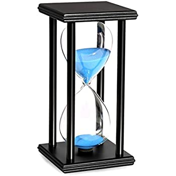 BOJIN 60 Minute Hourglass Sand Timer Wooden Black Stand Hourglass Clock for Office Kitchen Decor Home - Blue Sand