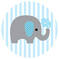 Baby Boy Elephant Stickers for Baby Shower and Birthday Favor Labels in Blue Stripes - Set of 50