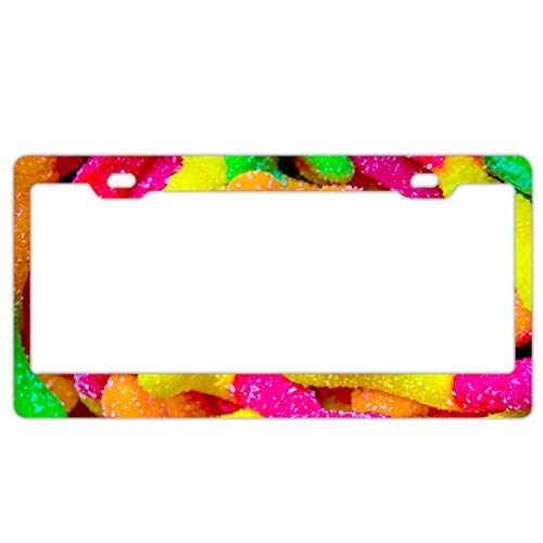 (Imtailang Fruit Candy Worms Colors Sugar Metal License Plate Frame - Classic for Car Auto Truck SUV)