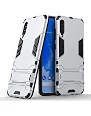 Miagon Kickstand Case for Samsung Galaxy A70,Cool Dual Layer Hard PC Back Case with Stand Function Shockproof Full Body Cover,Silver