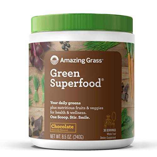 Amazing Grass Green Superfood, Chocolate, Powder, 30 Servings, 8.5oz, Wheat Grass, Spirulina, Alfalfa, Greens, Probiotic