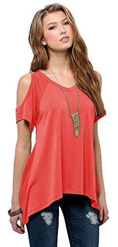 Urban CoCo Women's Vogue Shoulder Off Wide Hem Design Top Shirt - X-Large - Coral