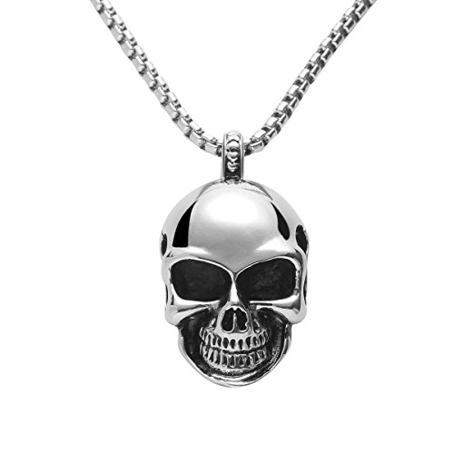 Godyce Skull Head Pendant Necklace Stainless Steel for Women Men Jewelry with Gifts Box