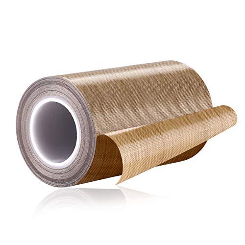PTFE Coated Fiberglass Telfon Tape,high Temperature Tape;Drying Mechanical Conveyor Belt; Welding Sealing Tape; -196℃ - +300℃ ... (Brown, 100mm x 12yards x 0.18mm)