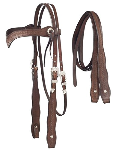 Royal King Basket weave V Brow Headstall with Reins - Brow Headstall