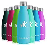 KollyKolla Metal Water Bottle Vacuum Insulated Water Bottles Hot & Cold Drinks Bottle Stainless Steel Thermo Flask Leakproof Kids for Sports Gym, Cycling, Football, Travel, (350ml Peacock Blue)