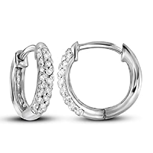 0.17 cttw 10k White Gold Micro Pave Diamond Hinged Hoop Earrings