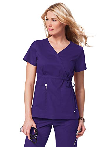 2015 Ladies Uniform - KOI Women's Katelyn Easy-fit Mock-wrap Scrub Top with Adjustable Side Tie, Grape, Medium