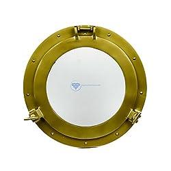 Powder Coated Premium Nautical Aluminum Pirate's Ship's Porthole Window | Exclusive Wall Decor Accent | Nagina International (17 Inches, Antique Brass)