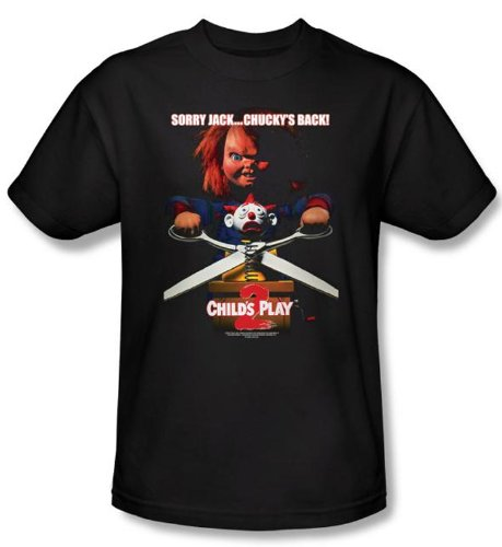 Child's Play 2 T-shirt Movie Chucky's Back Adult Black Tee Shirt, Large