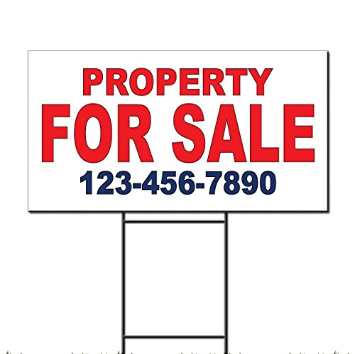Buy cheap property for sale phone custom red blue plastic yard sign free stakes inches one side