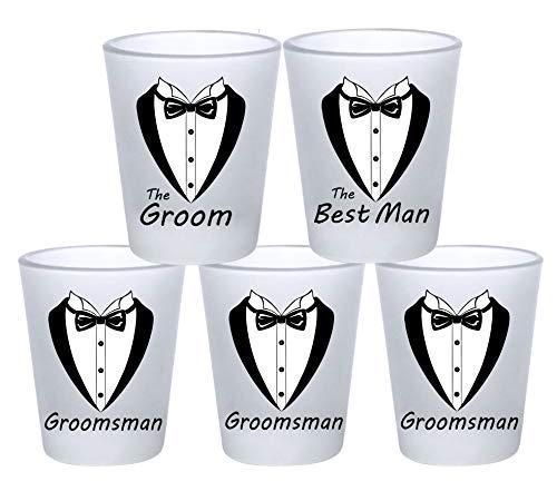Wedding and Bachelor Party 5 Pack Shot Glasses Funny Tuxedo Novelty Groom, Best Man, Groomsmen Shot Glasses | Great for Groom, The Best Man and Groomsmen Bachelor Party (5 Pack -