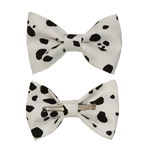 Boys White and Black Cow Print Clip On Cotton Bow Tie by amy2004marie