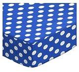 SheetWorld Fitted Cradle Sheet 18 x 36 - Polka Dots Royal Blue - Made In USA